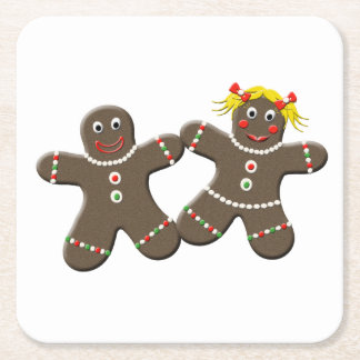 Cute Gingerbread Boy Girl Husband Wife Christmas Square Paper Coaster