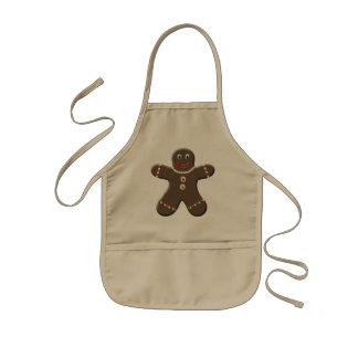 Cute Gingerbread Boy Kids Holiday Christmas Apron