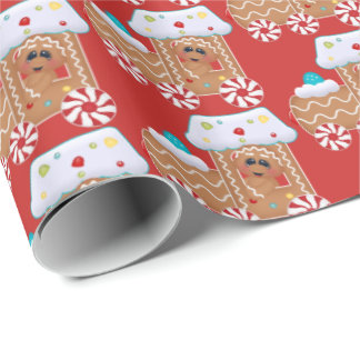 Cute Gingerbread cookie Christmas party tiled wrap Wrapping Paper