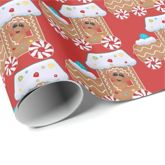 Cute Gingerbread cookie Christmas party tiled wrap Wrapping