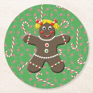 Cute Gingerbread Cookie Girl Christmas Candy Round Paper Coaster