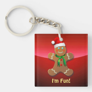 Cute Gingerbread Cookies Double-Sided Square Acrylic Key Ring