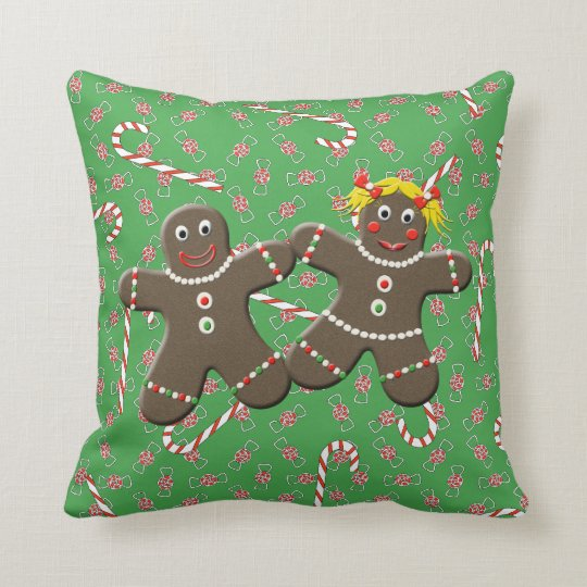 Cute Gingerbread Couple Boy Girl Christmas Candy Cushion