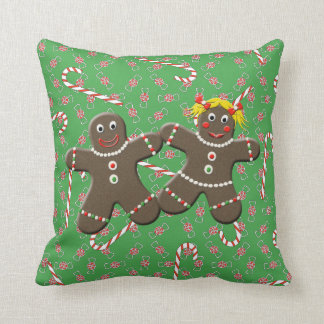 Cute Gingerbread Couple Boy Girl Christmas Candy Cushion