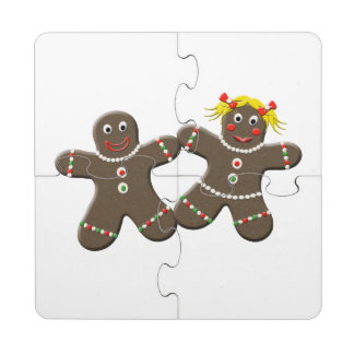 Cute Gingerbread Couple Husband Wife Boy Girl Puzzle Coaster