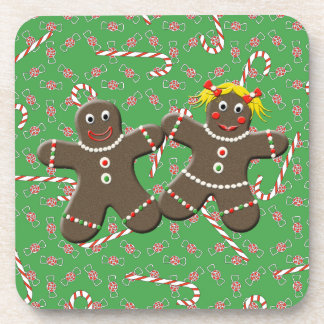 Cute Gingerbread Couple Love Christmas Candy Drink Coaster