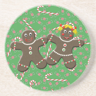 Cute Gingerbread Couple Love Gingerbread Cookies Drink Coaster