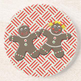 Cute Gingerbread Couple Love Gingerbread Cookies Drink Coasters