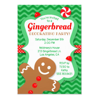Cute Gingerbread Decorating Party Invitation