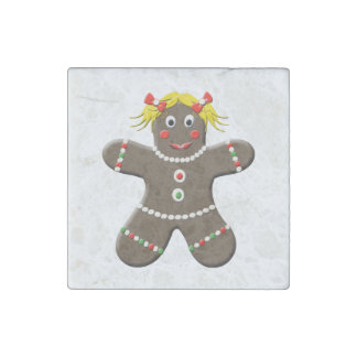 Cute Gingerbread Girl Christmas Gingerbread Lady Stone Magnet