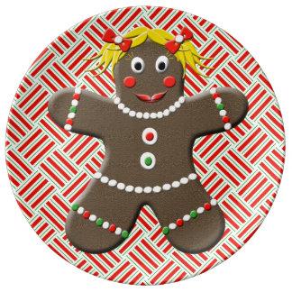 Cute Gingerbread Girl Decorative Christmas Porcelain Plates