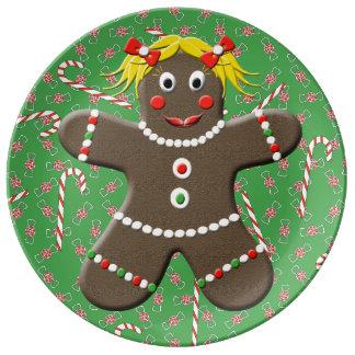 Cute Gingerbread Girl Decorative Green Christmas Porcelain Plates