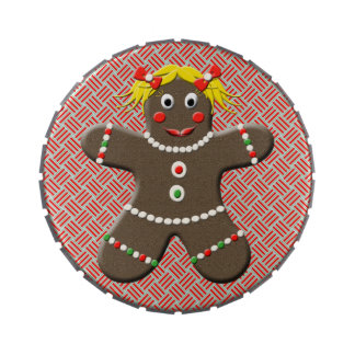 Cute Gingerbread Girl Festive Christmas Treats Jelly Belly Candy Tin