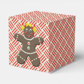 Cute Gingerbread Girl Festive Christmas Xmas Favor Box