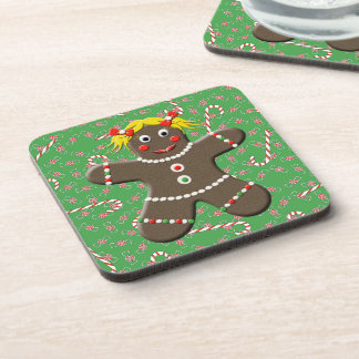 Cute Gingerbread Girl Lady Christmas Candy Coaster