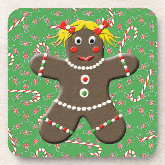 Cute Gingerbread Girl Lady Christmas Candy Coasters