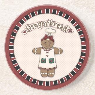 Cute Gingerbread Girl Sandstone Coaster