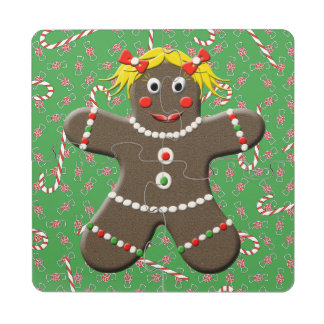 Cute Gingerbread Girl Woman Christmas Candy Canes Puzzle Coaster
