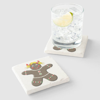 Cute Gingerbread Girl Woman Christmas Holiday Stone Beverage Coaster