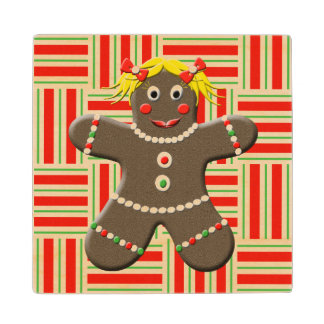 Cute Gingerbread Girl Woman Christmas Holiday Wood Coaster
