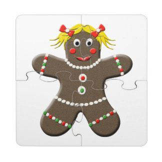 Cute Gingerbread Girl Woman Christmas Holiday Puzzle Coaster