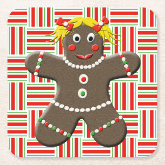 Cute Gingerbread Girl Woman Christmas Holiday Red Square Paper Coaster