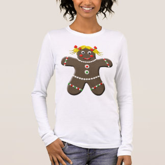 Cute Gingerbread Girl Woman Holiday Christmas Long Sleeve T-Shirt