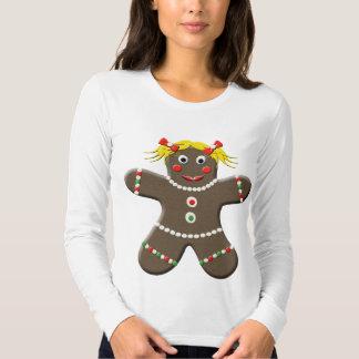 Cute Gingerbread Girl Woman Holiday Christmas T-shirts