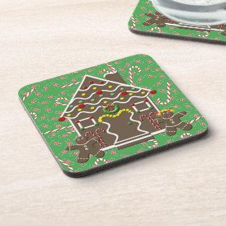 Cute Gingerbread House Boy Girl Christmas Candy Coaster
