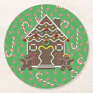 Cute Gingerbread House Christmas Cookie Candy Round Paper Coaster