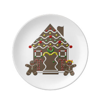 Cute Gingerbread House Gingerbread Man & Girl Plate