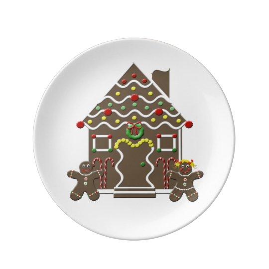 Cute Gingerbread House Gingerbread Man & Girl Plate