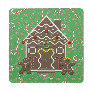 Cute Gingerbread House Girl Boy Christmas Candy Puzzle Coaster
