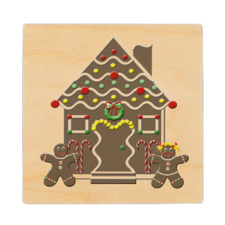 Cute Gingerbread House Girl & Boy Christmas Wood Coaster