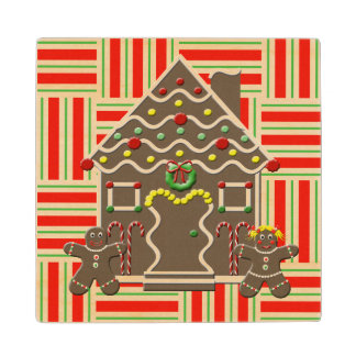 Cute Gingerbread House Girl & Boy Christmas Maple Wood Coaster
