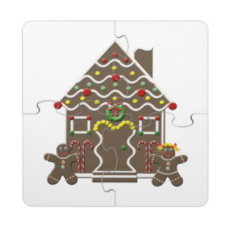 Cute Gingerbread House Girl & Boy Christmas Puzzle Coaster
