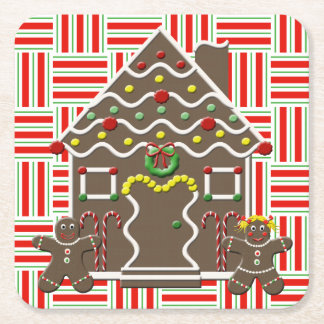 Cute Gingerbread House Girl & Boy Christmas Red Square Paper Coaster