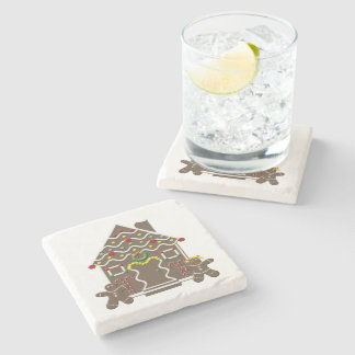 Cute Gingerbread House Girl & Boy Christmas Stone Beverage Coaster