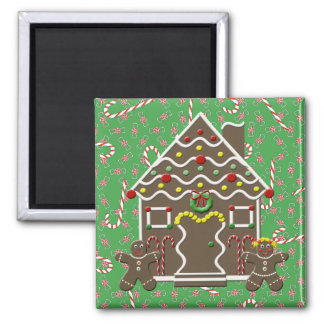 Cute Gingerbread House Man Girl Christmas Candy Square Magnet