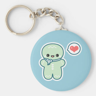 Cute Gingerbread Man Basic Round Button Key Ring