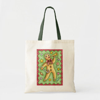 Cute Gingerbread Man Blowing Horn, Christmas Candy Budget Tote Bag