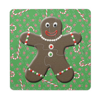 Cute Gingerbread Man Boy Christmas Candy Canes Puzzle Coaster