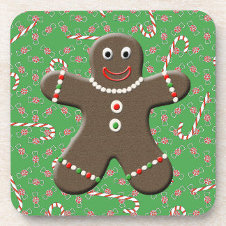 Cute Gingerbread Man Boy Christmas Candy Beverage Coasters