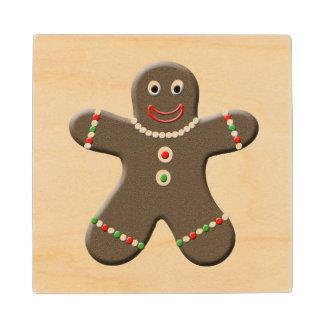 Cute Gingerbread Man Boy Christmas Holiday Maple Wood Coaster