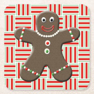 Cute Gingerbread Man Boy Christmas Holiday Red Square Paper Coaster
