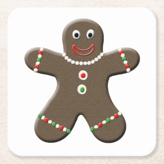 Cute Gingerbread Man Boy Christmas Holiday Square Paper Coaster