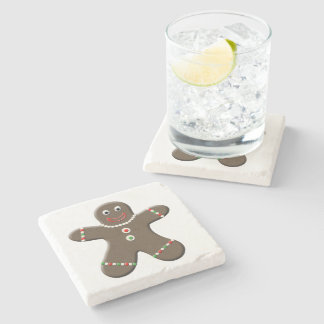 Cute Gingerbread Man Boy Christmas Holiday Stone Beverage Coaster