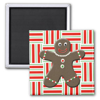 Cute Gingerbread Man Boy Christmas Red White Xmas Square Magnet