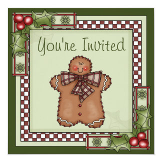 Cute Gingerbread Man Chirstmas Holiday Party Card