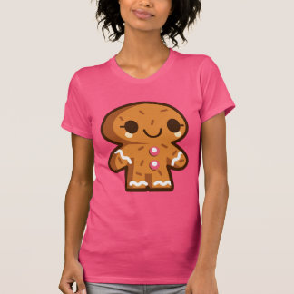 Cute Gingerbread Man Christmas Fuscia Ladies Shirt